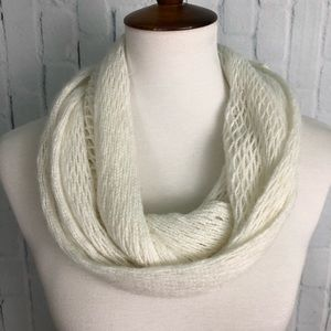White Knit Infinity Scarf Super Soft Thin Knit EUC